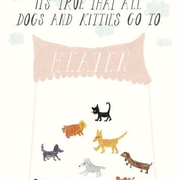 Dog and Kitten Heaven Sympathy Card
