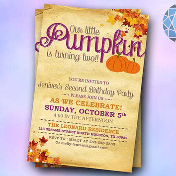 Vintage pumpkin invitation Design For Birthday Invitation on SaphireInvitations