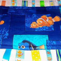 RARE Out of Print Finding Nemo and Dad Royal Blue and Teal Turquoise Minky Security Ribbon Tabs Taggy Lovey Blankie Blanket
