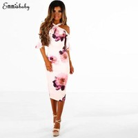 Women Vintage Ruffled Bodycon Maxi Dress Holiday Party Dress Ladies Halter Floral Pencil Knee Length Dresses Clothing