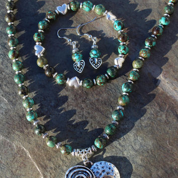 OOAK Turquoise Handmade Boho Statement Necklace Jewelry Set with Earrings and Bracelet, Mixed Metals Heart Focal, One of a Kind Gift for Her