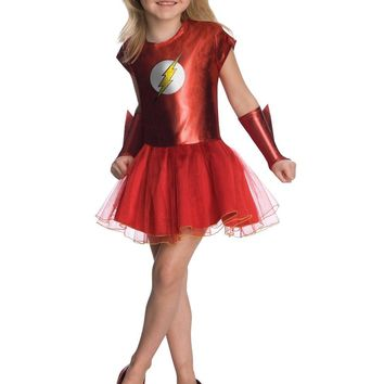 Girls Flash Superhero Cosplay Costumes Fancy Baby Child Halloween The Flash Dress For Little Girl