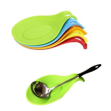ICIK272 1Pc Silicone Spoon Insulation Mat Silicone Heat Resistant Placemat Drink Glass Coaster Tray hot sale Spoon Pad Kitchen Tool