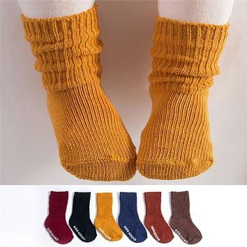 MUQGEW 1 Pair 2018 New Solid Kids Toddlers Girls Soft Socks Colorful Children Autumn Winter Leg Warmers children's socks