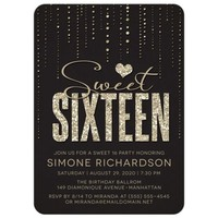 Sweet 16 Party Invitations - Black & Gold Glitter Look Streaming Gems