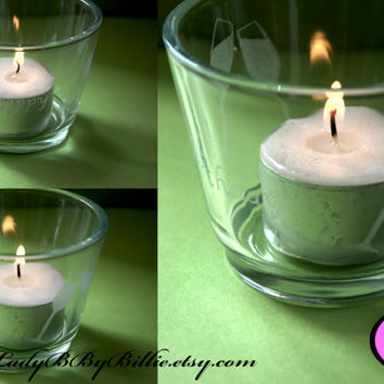 Hand Etched Personalised Tea Light Holder With Candle
