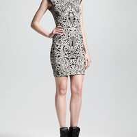 Alexander McQueen Cap-Sleeve Puckered Jacquard Sheath Dress