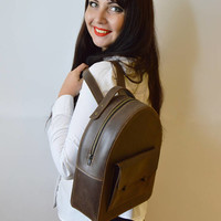 Backpack.Women's Leather Backpack.Rucksack. Leather Satchel. Laptop.Unisex+PROMO