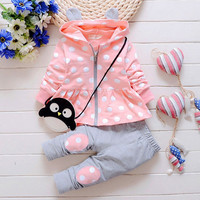 Spring New Kids girls suit set Korean version of casual cotton hooded jacket  pants two suits baby / newborn clothing suit