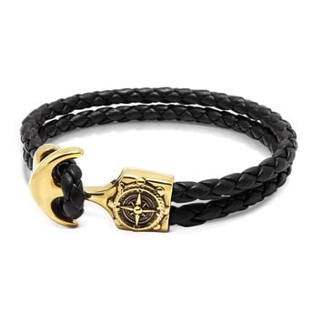 Men's Black Leather Bracelet with Gold Compass Anchor
