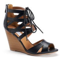 Chelsea & Zoe Alana Women's Strappy Lace-Up Wedge Sandals