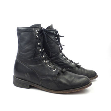 Roper Boots Vintage 1980s Justin Leather  Black Granny Lace up Packer Women's size 6 1/2 B