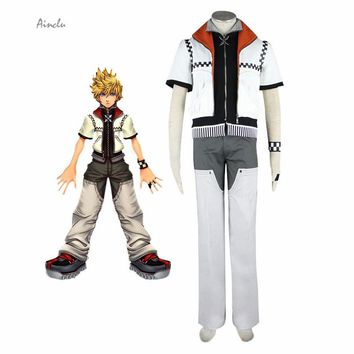 Ainclu Free Shipping Cosplay Kingdom Hearts Roxas Cosplay Costume High Collar White Coat Two Zippers Outfit Full Set with Cuff