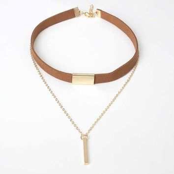 Tomtosh New Hot Long necklace Allergy Hot Sale Y Style Chain Long Necklaces & Pendants Rose Gold Strip Bar Jewelry For Women