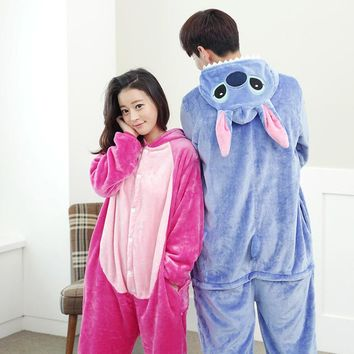 Warm flannel stitch lilo Cute cartoon animal stitch long sleeve hooded animal pajamas Whole adult women pijama stich