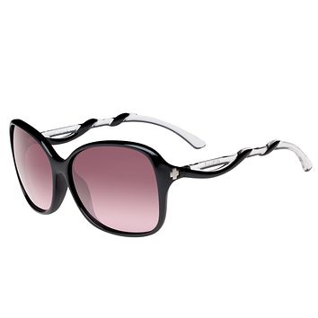 Spy - Fiona Black W/ Clear Sunglasses, Happy Merlot Fade Lenses