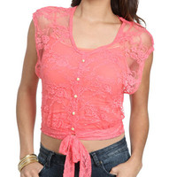 Lace Tie Front Top | Shop Clearance at Wet Seal
