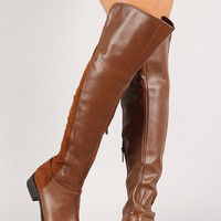 Breckelle Mixed Media Round Toe Riding Boot
