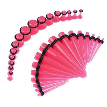 BodyJ4You Gauges Kit 32PCS Hot Pink Taper Ear Expanders with Plugs Stretch Set Single Flare 12G-00G