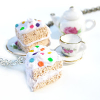 White Cake Vanilla Rainbow Confetti | Polymer Clay Charm Necklace | Realistic Miniature Food | Sterling Silver Silver-Plated Antiqued Brass