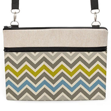 "Laptop 13"" Zipper Case, Macbook Shoulder Bag, 13"" Laptop Carry Bag, 11 inch Notebook Crossbody- blue, grey chevron stripes"