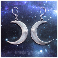 Crescent moon earrings, sold per pair, for regular or stretched ears, witchy, boho