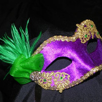 Lace and Feather Masquerade Mask in Purple, Green and Gold - Mardi Gras Mask