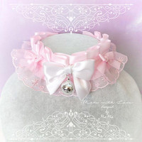 Kitten Pet Play Collar DDLG Choker Necklace White Baby pink Lace White Little Bow Bell ,Daddys Girl Jewelry ,pastel Lolita ,Fairy Kei, BDSM