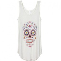 White Scoop Neckline Vest with Skull