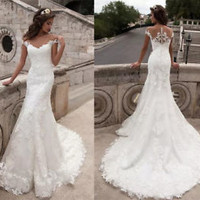 Sheer Neck Lace Wedding Dress Cap Sleeves Bridal Gown Custom Size 0 2 4 6 8 10