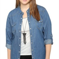Plus Size Snap Button Front Chambray Shirt with Rolled Sleeves