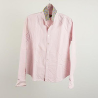 Ralph Lauren Rugby Striped Pink Cotton Shirt Floral Collar Print Size 8