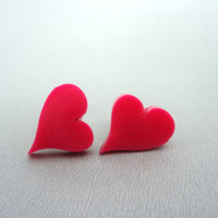 Laser cut acrylic heart earrings hot pink heart studs