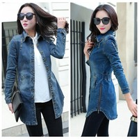 Vintage Women Denim Jacket 2017 Woman Casual Washed Jean Jacket Slim Holes Zipper Long Jean Coat Outwear Female Clothing S-XXL