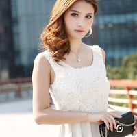 Elegant Style Rose Decorate Spliced Dress White-QM-HY12070715-1
