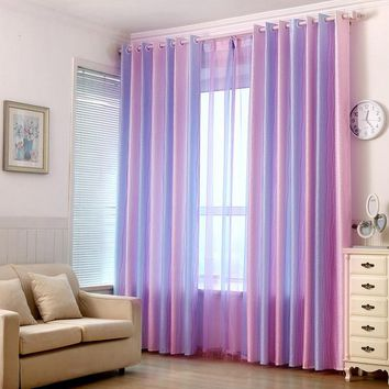 Famyfamy Curtains New Arrival Hot Sale Woven Curtain Cortina Gradient Rainbow Article Full Light Shading Room