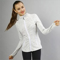lululemon Sports show hand-picked stretch yoga cardigan jacket zipper cultivate one's morality White-Grey