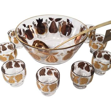 Pre-owned Culver Punch Bowl with Glasses - Set of 12