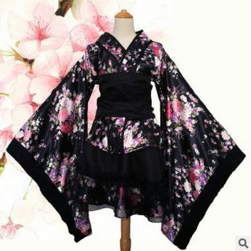 Japanese Kimono Vintage Original Tradition Silk Yukata Dress Japan Sexy Costumes Dancing Performances Costume Dress S-XL