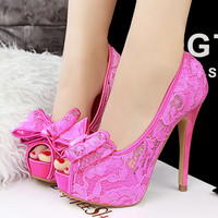 Cutout Lace Ultra High Heels Shoes For Women