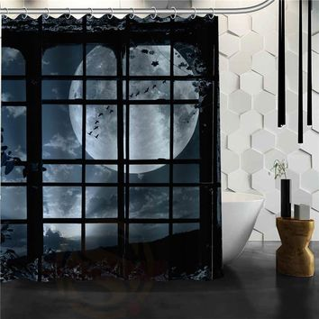 Custom night forest  Shower Curtain Bathroom Products Creative Polyester Home Shower Curtain/Bathroom Product
