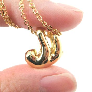 Sleek Abstract Sloth Shaped Animal Pendant Necklace in Gold | DOTOLY
