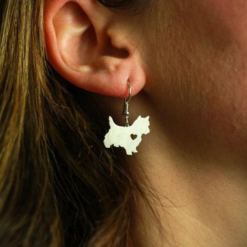 Min 1 Pair Handmade Jewelry Westie Terrier Earrings Dog Studs Silver Dog Charms Dangle Charm Memorial Mothers Day Gift For Women