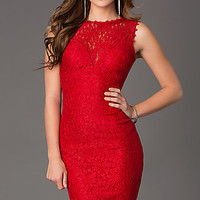 Short Sleeveless Lace Holiday Dress