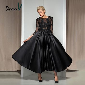Dressv Vintage 1960s Black Evening Dress 2017 A-line Beaded Lace  3/4 Sleeves Black Ankle-length Formal Dresses Prom Dresses