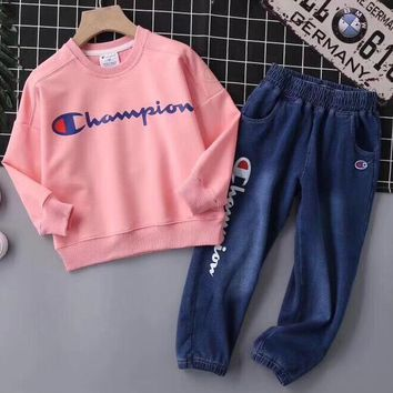 Champion Girls Boys Children Baby Toddler Kids Child Fashion Casual Top Sweater Pullover Pants Trousers Set Two-Piece
