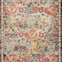 2066 Multi-Color Colorful Distressed Persian Area Rugs