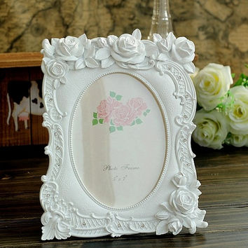 Retro Vintage White Rose Flower Home Decoration Photo Frame Picture Frame Resin 5'' x 7''