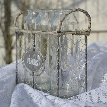 Wire Milk Bottle Crate with French Writing and 3 Glass Bottles