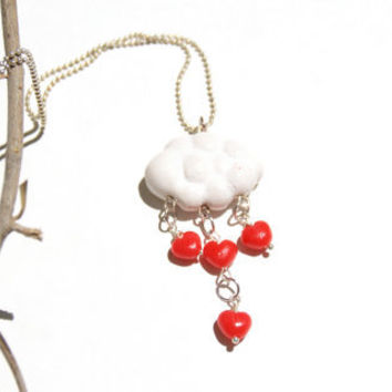 Red Heart Drops ,Polymer Clay Cloud ,Valentine's Day necklace, Handmade